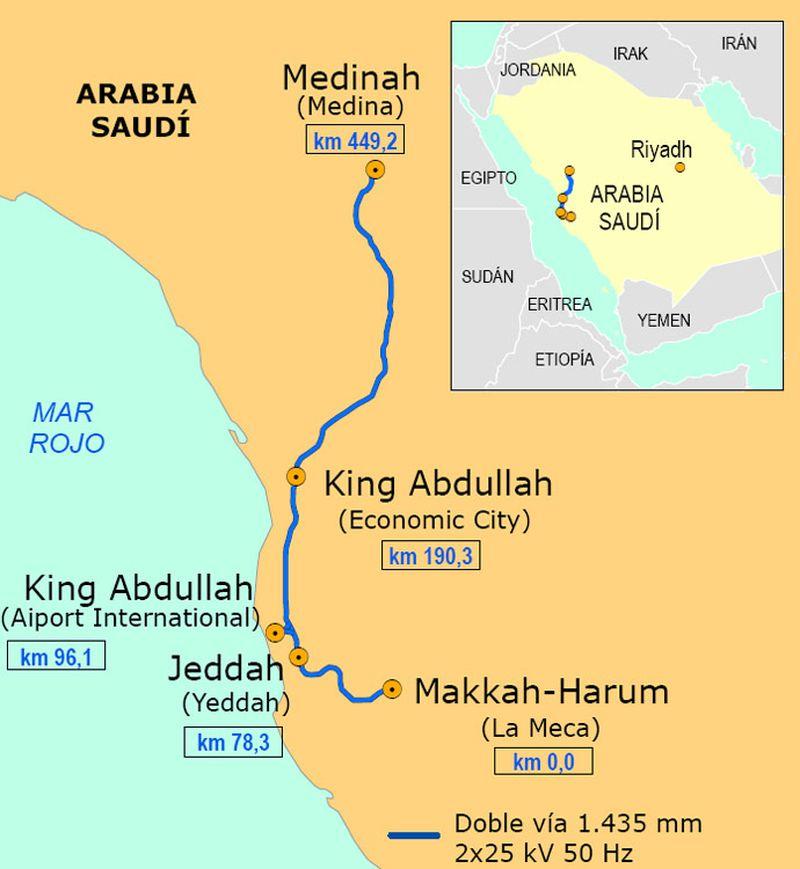 Arabia Saudita - Mapa De Las Rutas Hegira Map