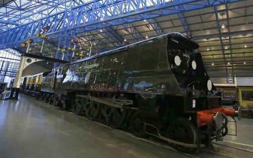 "The funeral train ""Winston Churchill"" that carried Britain's wartime leader Winston Churchill on his final journey from Waterloo to Oxfordshire is displayed at the National Railway Museum in York"
